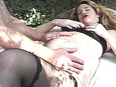 Preggo Pussy Spread Open By A Huge Cock